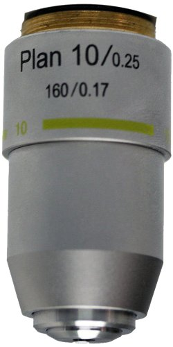 National Optical 710-160P 10X DIN Plan Achromat Objective Lens, N.A. 0.25, For 160 Microscopes