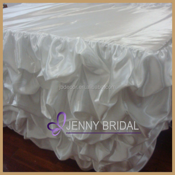 TC001 China Wholesale Ruched Satin Ruffled Table Skirt,tutu Table Skirt