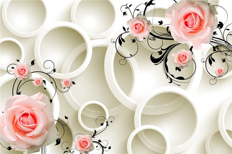 Italian Design Pink Flower And Milk Circle Wallpaper Murlas For Home Decor View Wallpape Clful Product Details From Guangzhou