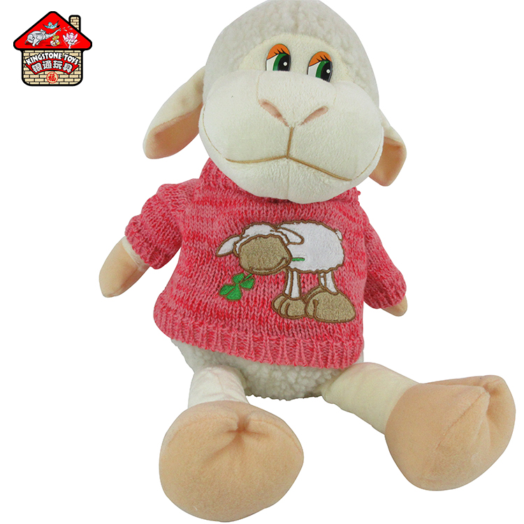 New plush candy bag stuffed sheep with knitted coat / animal toy stuffed candy bag
