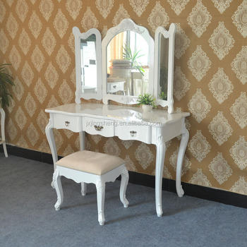 Home Decorative Dressing Table Mirror White Vintage Console Table With  Mirror