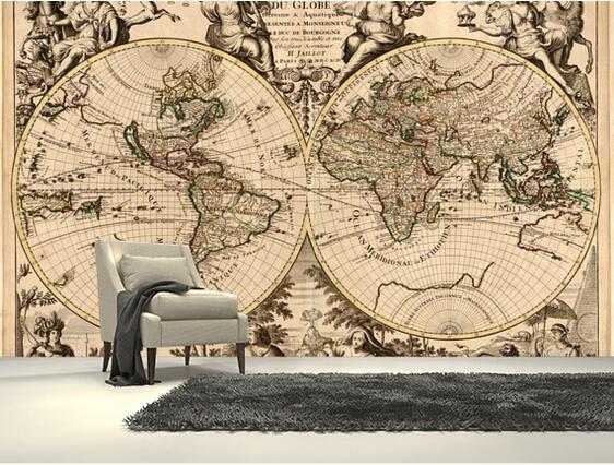 Acquista all 39 ingrosso online antique map carta da parati for Murales per cucina