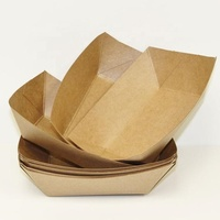 Custom printed disposable brown kraft paper boat tray for food