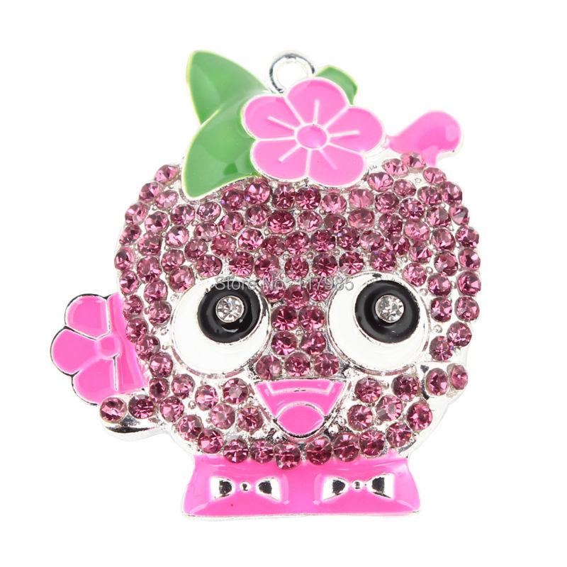 5 Шт. Прекрасный Розовый Shopkins Горный Хрусталь Apple Blossom Подвеска Для DIY Дети Принцесса Ожерелье 45*39 мм