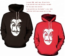 Walson Custom Made <span class=keywords><strong>La</strong></span> Casa De Papel Hooded Hot Salvador Dali Hoodies 3D halloween hoodie