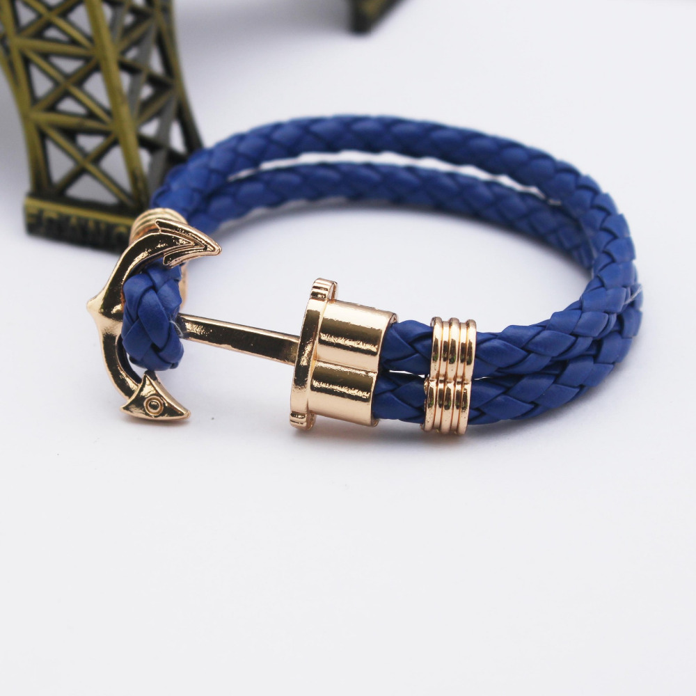 Get Quotations · Unisex Couples Bracelet Men Anchor Woven Leather  Bracelets&Bangles Multilayer Punk Charming Rope Pulseiras Femininas Hand  Chain