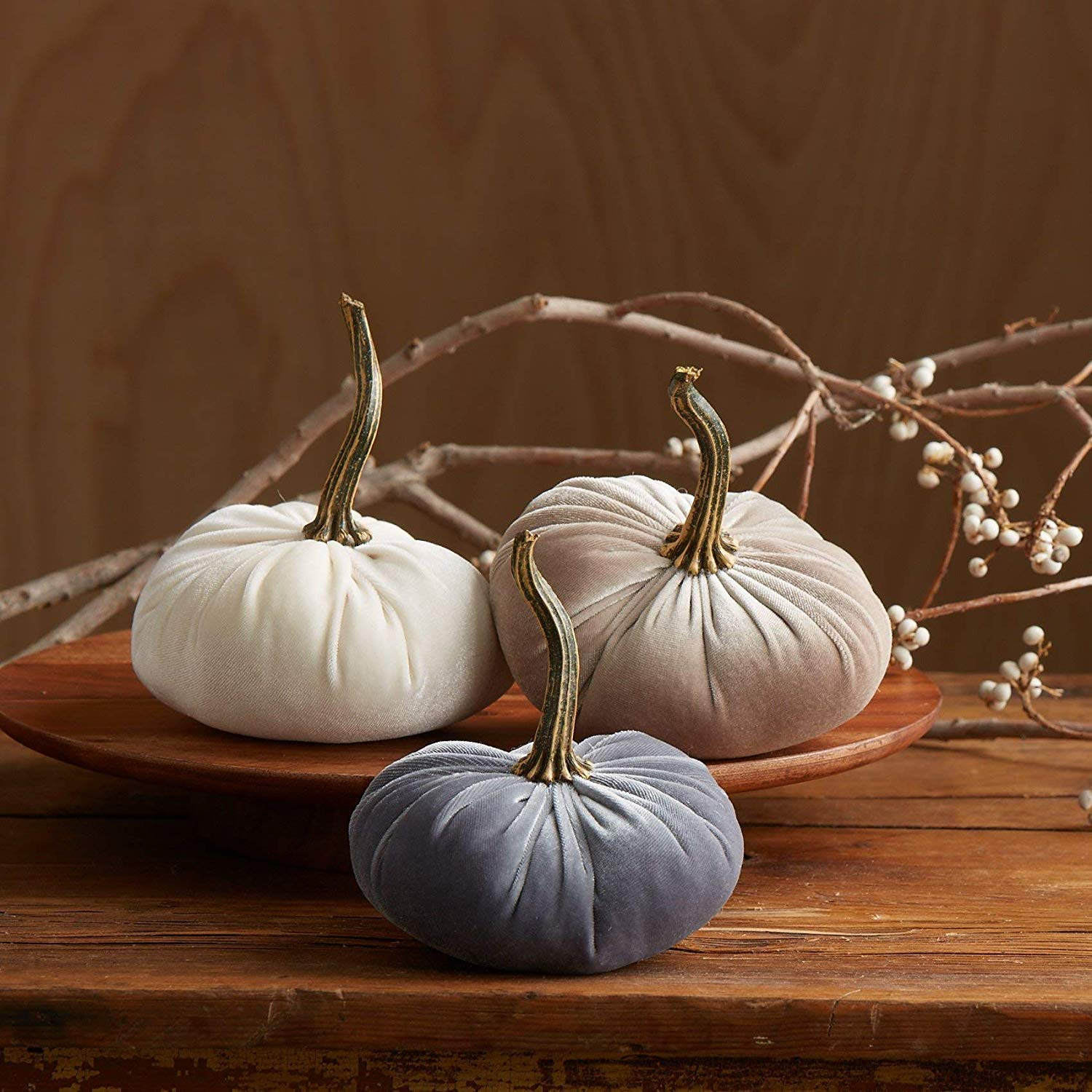 Velvet Pumpkins, SET of 3: Gray, Ivory, Taupe; Home Decor, Holiday Mantle Decor, Centerpiece, Fall, Halloween, Thanksgiving