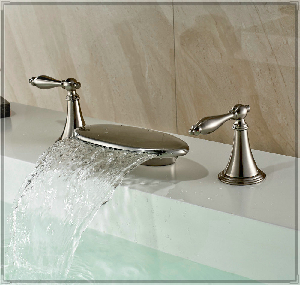 Waterfall Spout Bathroom Faucet: Luxury Brushed Nickel Bathtub Filler Faucet Waterfall