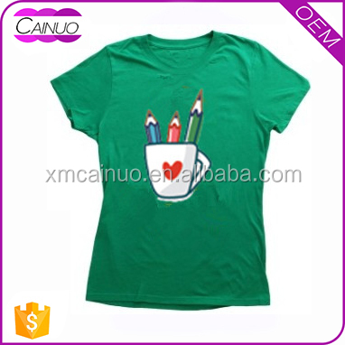 Custom 100% Polyester Printed Green Tshirts for women