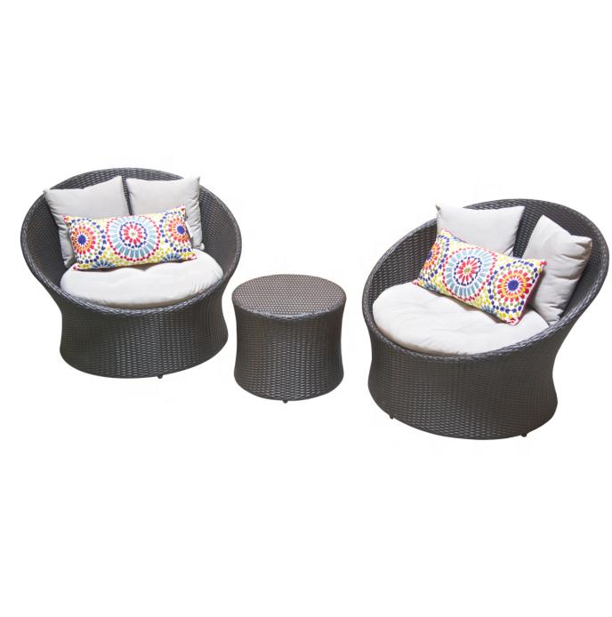 terrace furniture outdoor withe wicker bistro set rattan round design lounge sofa