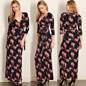 Floral Print Jersey Knit Wrap Maxi Dress Muslim Long Sleeve Maxi