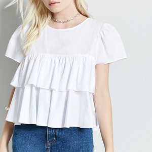 shirt womens 2017 blouse in fashion younger girls Poplin tiered flounce and a partial button-down back closure white top blouse