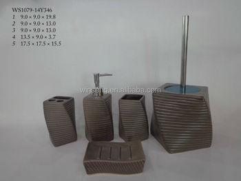 Accessori Bagno Marrone : Pezzi da di ceramica marrone set accessori bagno per la
