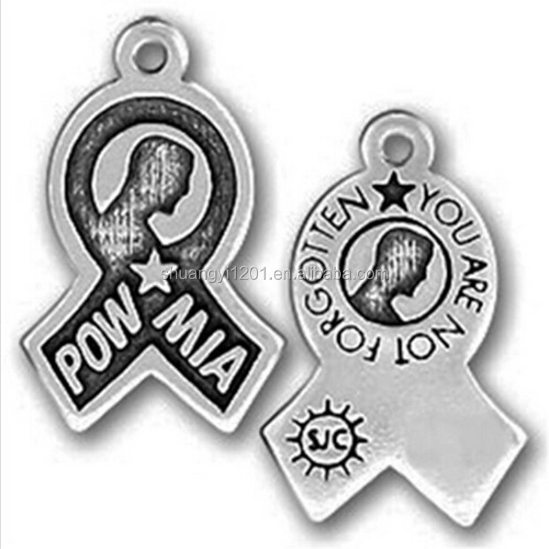 Anti-silver Vintage Tone Alloy Metal POW MIA You Are Not Forgotten Ribon Charm