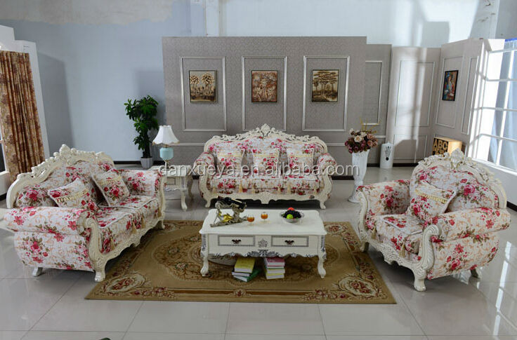 French Alibaba Used Patio Furniture Floral Print Fabric Sofa