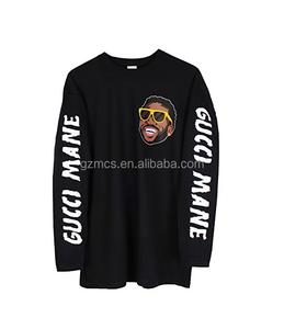 Wholesale OEM cotton fashion hiphop oversize custom printing logo long sleeve men's t shirts