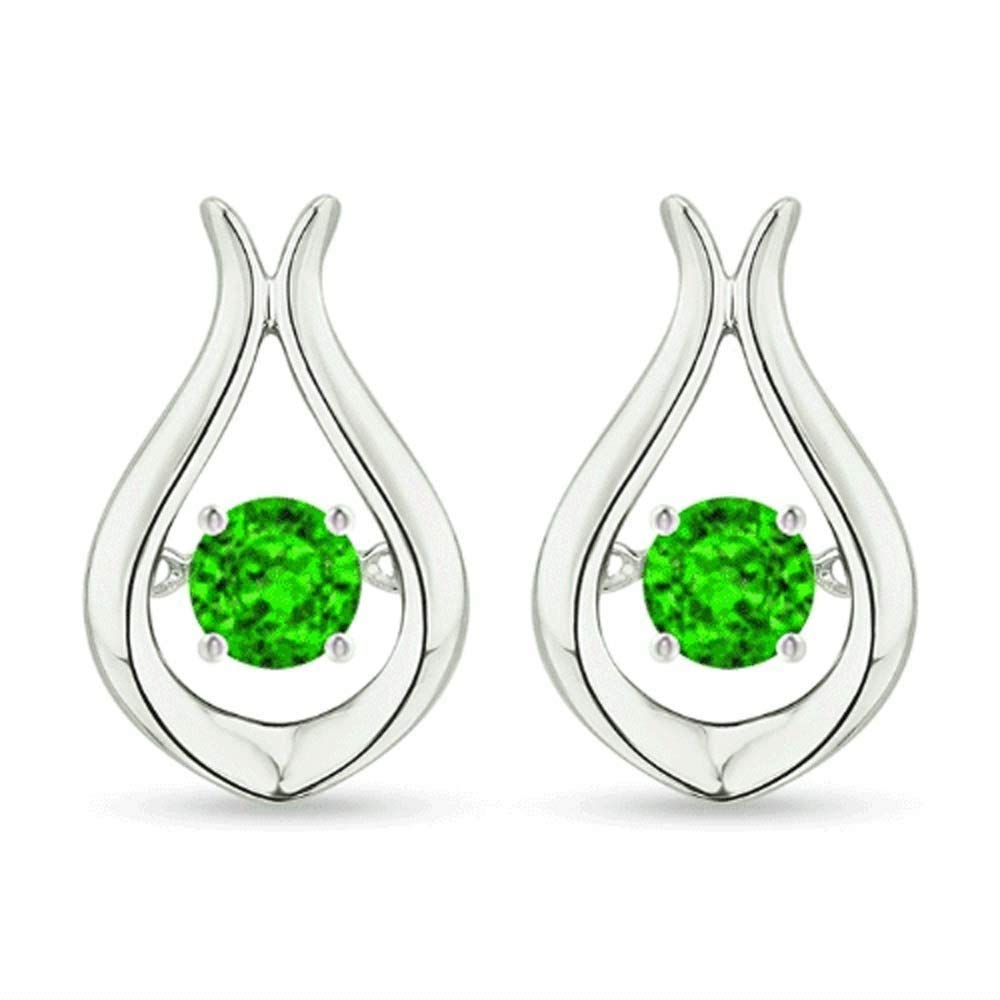 Silvergemking Round Cut Green Emerald Women's & Girls Stud Earrings 14k White Gold Over