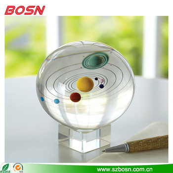 Transparent new design solar sysytern acrylic paperweight