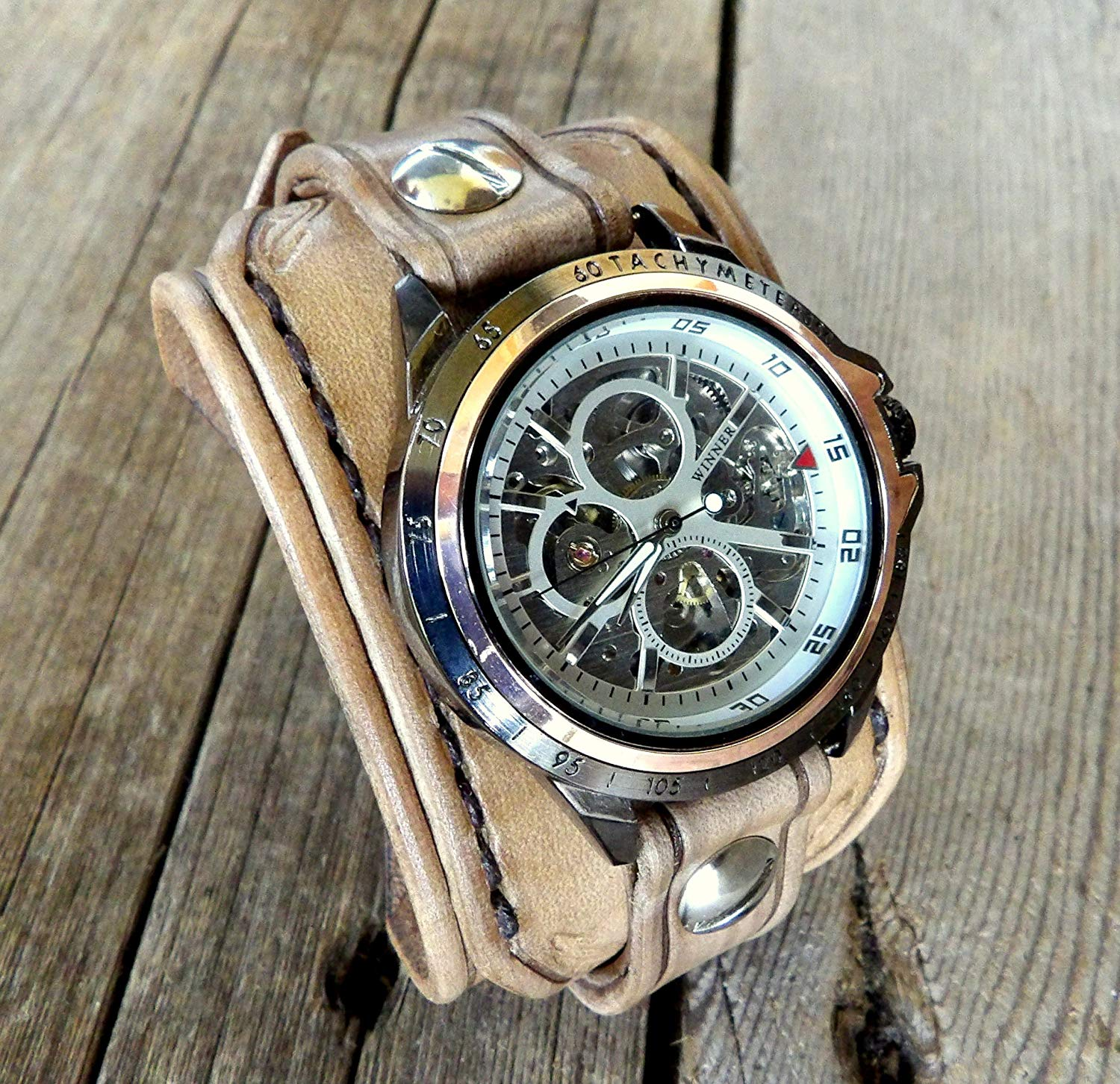 Leather Watch, Steampunk Watch, Mechanical Watch, Men Watch,Women Watch, Skeleton Watch, Brown Leather Watch, Wrist Watch, Leather gift
