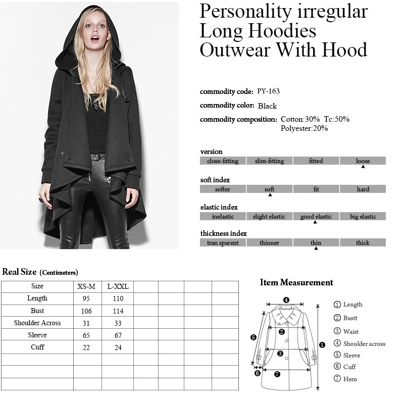 PY-163 Punk Black Personality Irregular Cloak Style Long Jacket with hooded