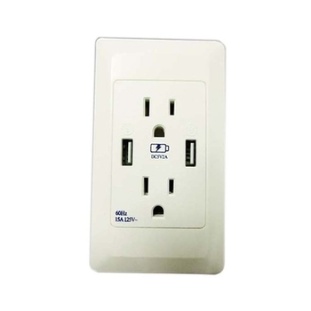chinese supplier Wholesale double US USB Wall Socket 15A with 5V 2A USB port AC 220-240V Dual outlet USB power Socket