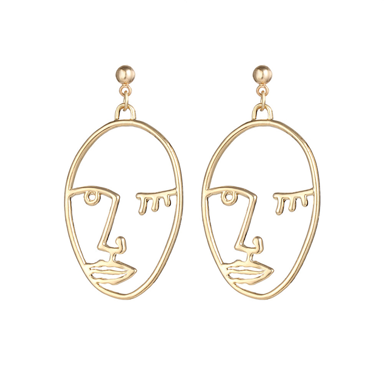 Trend Gold Hollow Face/Hand Statement Dangle Earrings For Women Abstract Art Drop Earrings (KDR019)