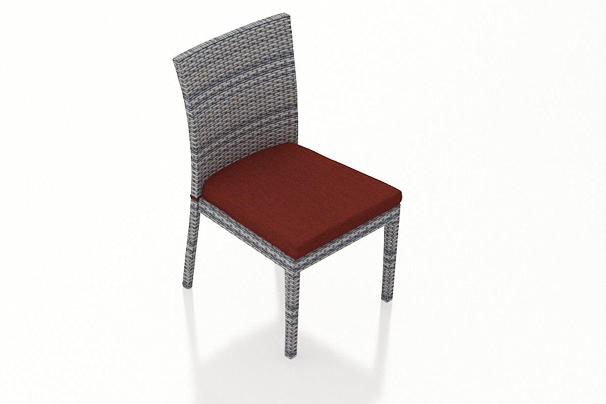 Harmonia Living Urbana 2 Piece Modern Wicker Patio Dining Side Chairs with Red Sunbrella Cushions (SKU HL-URBN-WS-2DSC-HN)