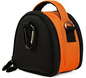 Orange Limited Edition Camera Bag Carrying Case with battery charger, battery charger, memory cards, and accessories Pocket for Casio EXILIM Zoom EX-S200 EX-FH100 EX-G1 EX-H30 EX-Z16 EX-ZR10 EX-ZR100 EX-ZS5BK EX-ZS5PK EX-ZS5SR EX-ZS5BE EX-ZS10BK EX-ZS10PK EX-ZS10SR EX-ZS10RD EX-H15 EX-Z16BK