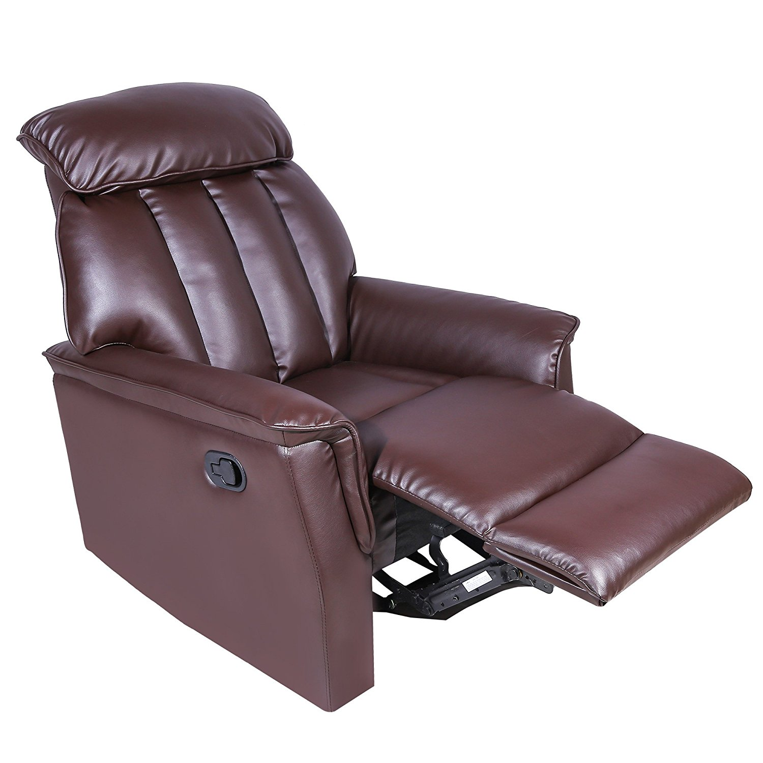 Harper&Bright Designs Recliner Ergonomic Adjustable Recliner Sofa Chair with PU Leather (Brown) (Brown)