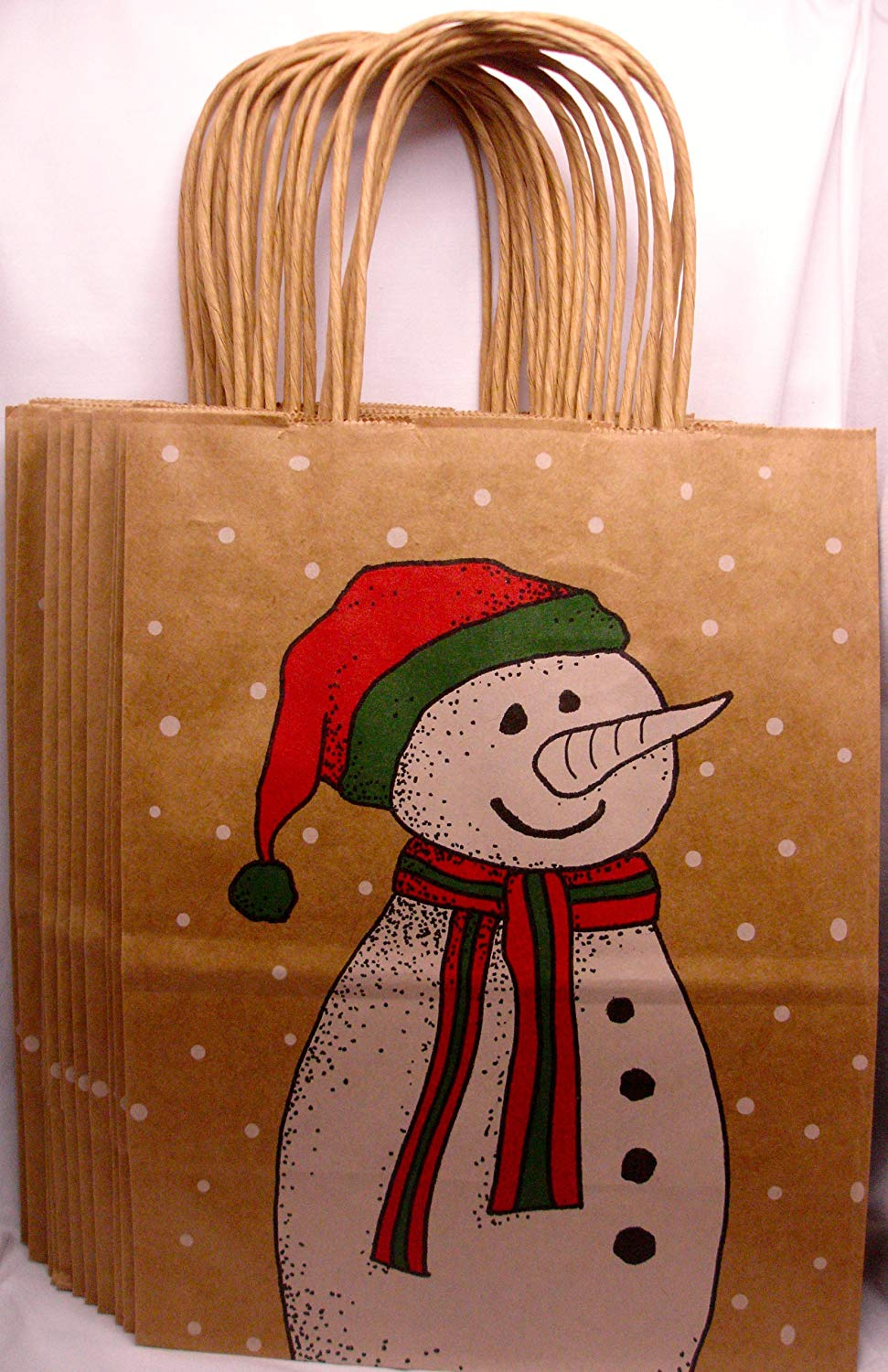 """Snowman Christmas Brown Paper Gift Bags, Merry, 10 1/2"""" X 8 1/4"""" (12-pack)"""