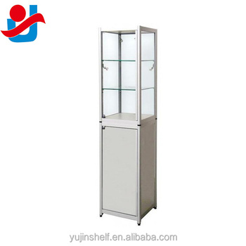 Tower Aluminium Glass Counter Top Display Cabinet With Adjustable Glass  Shelving
