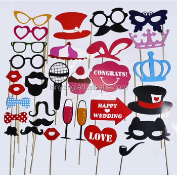 31pcs Photo Booth Diy Mask Mustache Stick Props Wedding Birthday