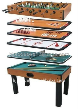 Wooden 8 In 1 Multiple Use Game Table Indoor Sports Kids Toy Baby Foot Pool  Table