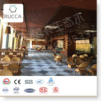 Hot Natural WPC Ceiling! Foshan Rucca Wood Composite Ceiling Tile for Interior Decoration 40*55mm