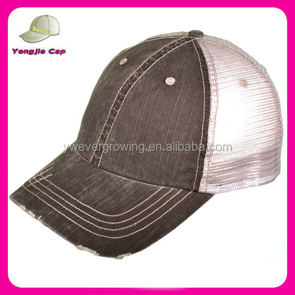 Wholesale Low Profile Unstructured Herringbone Cotton Twill Distressed Mesh Trucker Caps