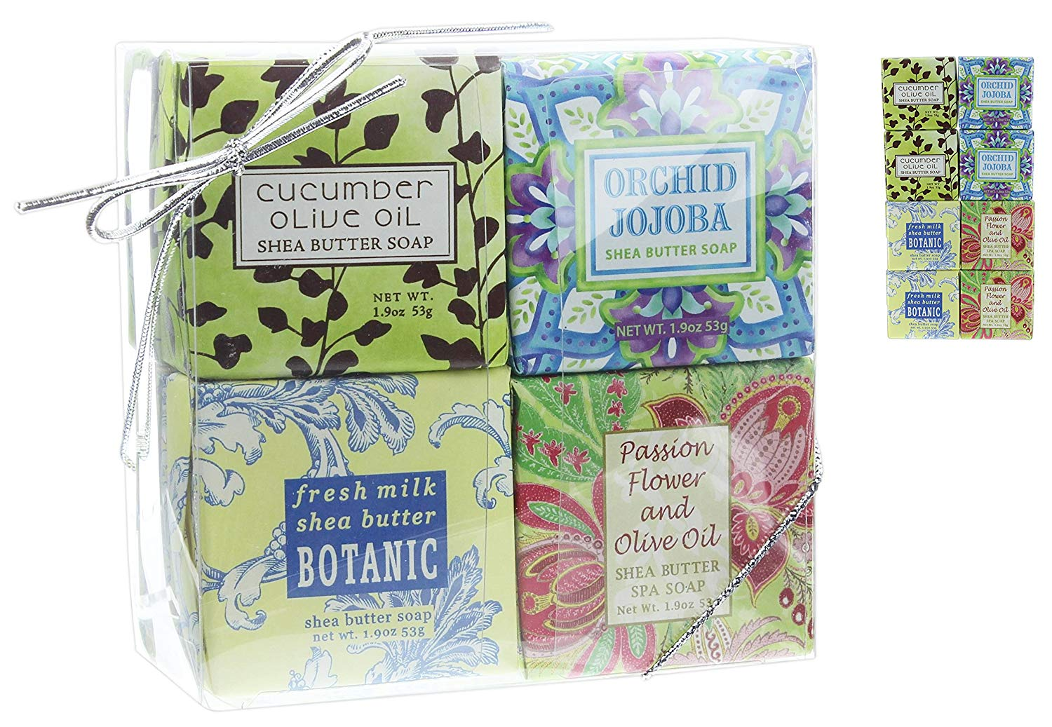 Bundle of 8 Greenwich Bay 1.9 Oz Shea Butter Bar Soaps in Clear Plastic Gift Box (Cucumber, Orchid Jojoba, Milk Shea, Passion Flower)