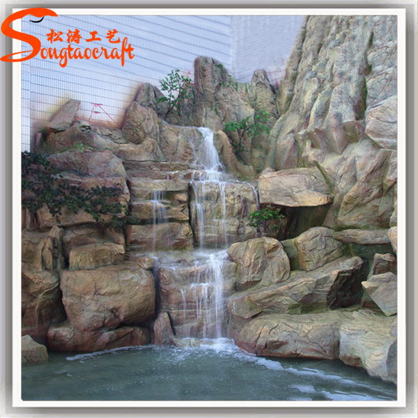Chinese wholesale cheap large resin outdoor decorative for Garden pond waterfalls for sale