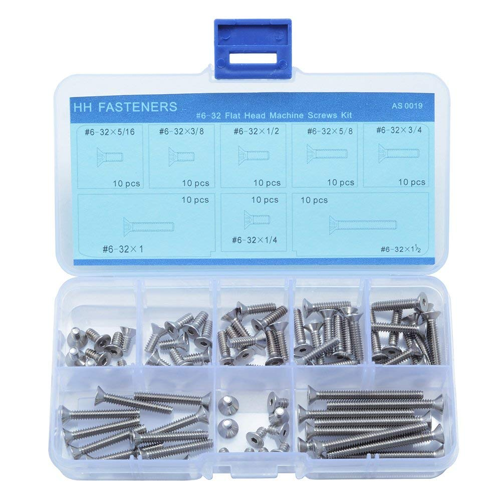 #6-32 UNC Stainless Steel Hex Socket Head Flat Screws Countersunk Head Assortment Set,8 Size (80 piece) …