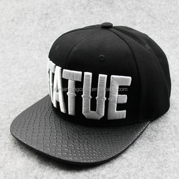 72234ddb981 Custom Large Letter 3d Embroidery Snapback Hat With Leather Brim ...