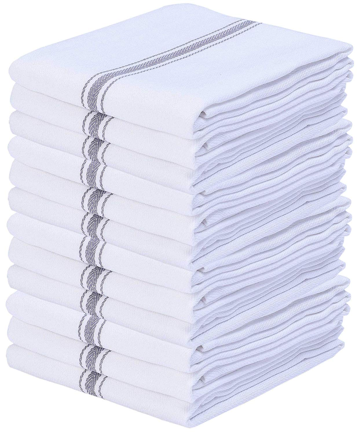 12 Pack Charcoal White Scandia Stripe Kitchen Dish Tea Towels, 100% Cotton, 16x26, Highly Absorbent, Professional Grade, Sturdy Weave, Machine Washable