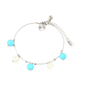 74355 xuping new arrival specially design dainty plastic bead chain bracelet for girls in rhodium plated