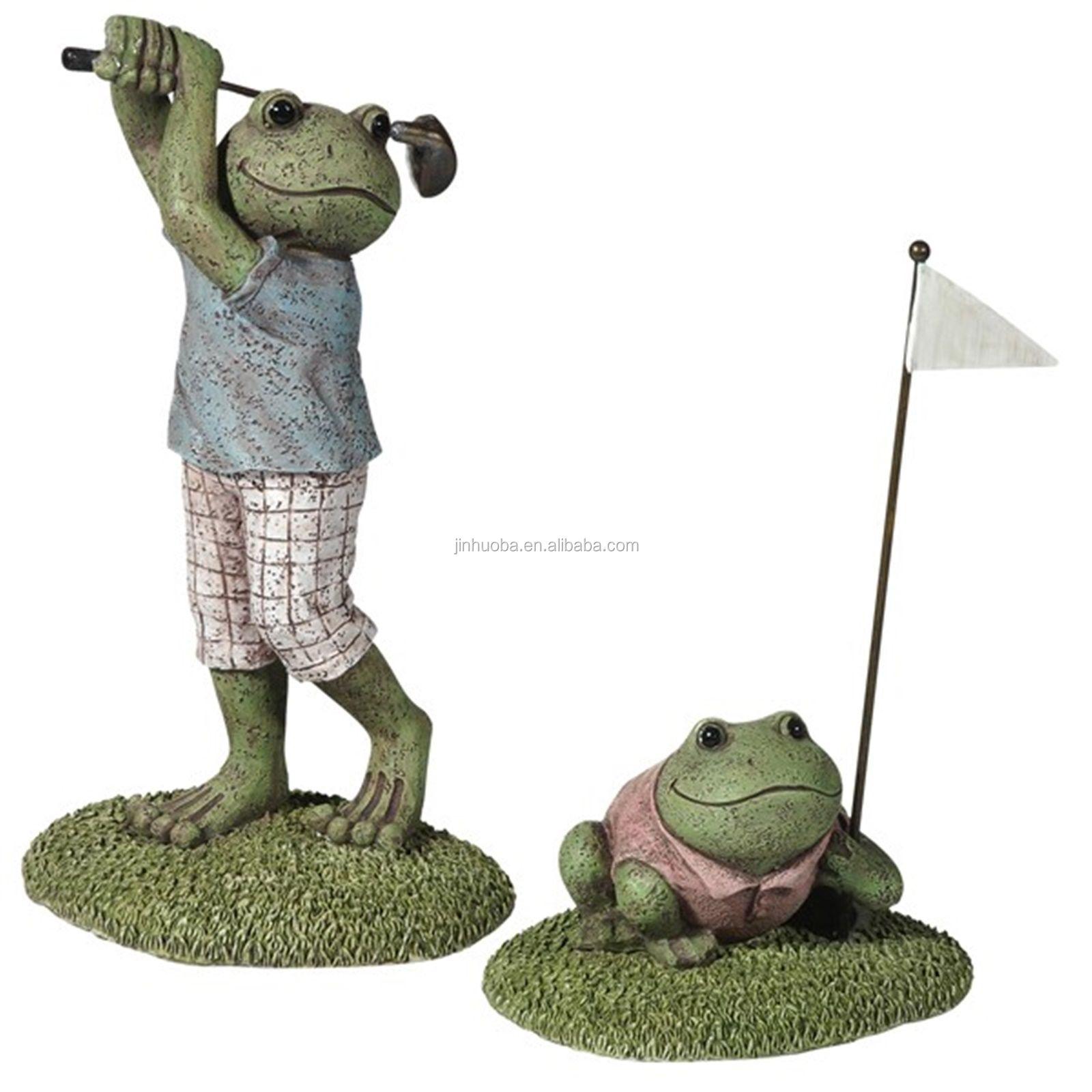 Beautiful Golfing Frogs Outdoor Garden Statue Set
