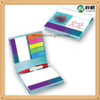 full color printed sticky note with hard cover and a pen