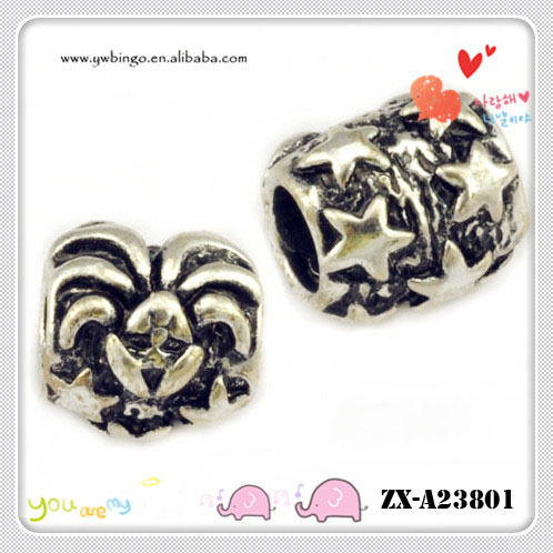 Pretty little star pattern retro silver beads 4.6mm hole ZX-A23801