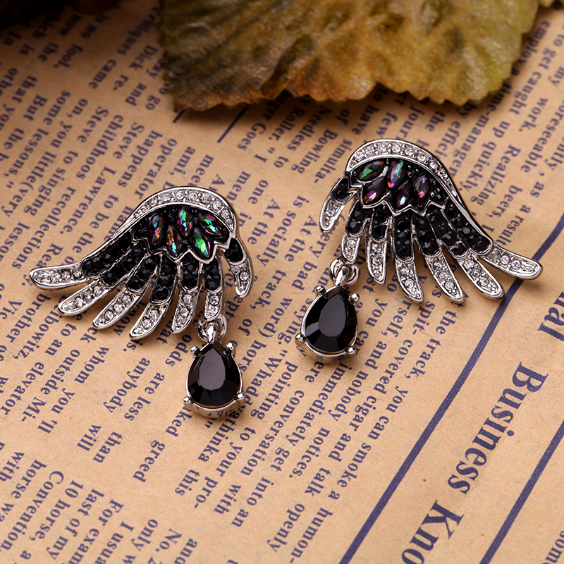 Black Stone Angel Wings Stud Earring