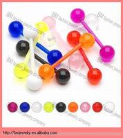 Bio Flex Flexible Barbell Tongue Rings Piercing UV Ball