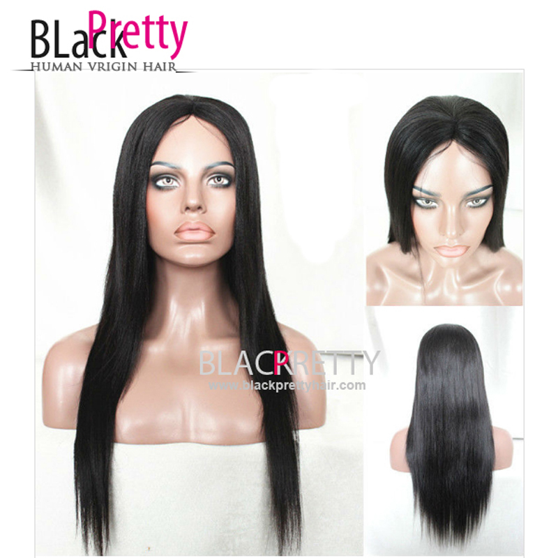 20inch Long Straight Light Yaki Wig Straight Human Natural Hair Glueless Wigs For Black Women Black Straight Yaki None Lace Wig