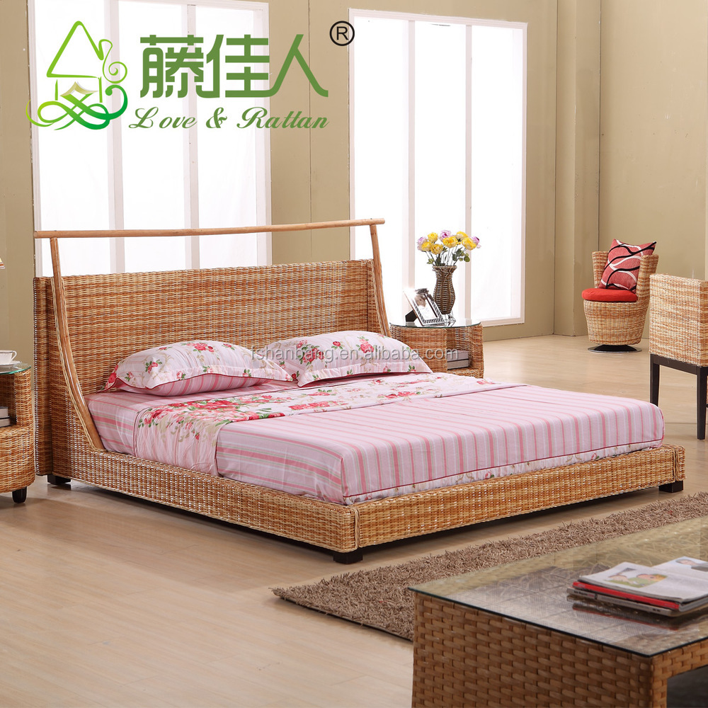 Latest double bed designs Natural Rattan Bed Sets Double French ...