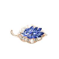 Ocean Blue Crystal Rhinestone Leaf custom Teacher korean brooch