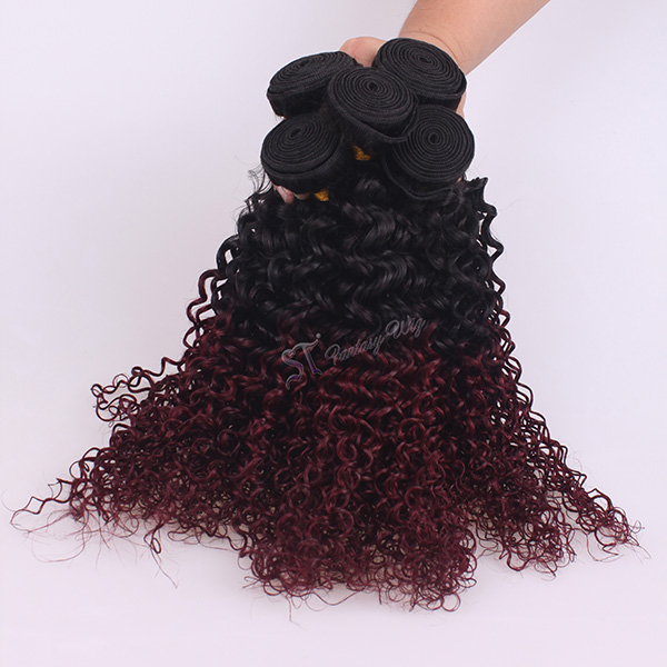 ST wholesale hair for weaving <strong>black</strong> and red two tone color cheap brazillian hair extension